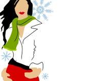 Modèle de mode blanc de l'hiver Photo libre de droits
