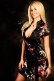 Modèle de mode blond sexy de femme dans la robe longue en soie photo libre de droits