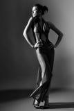 Modèle de mode dans de longs vêtements sur le fond foncé Image libre de droits