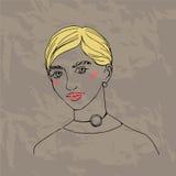 Modèle de mode dans la robe d'or Tendances d'hiver de chute de croquis Image stock