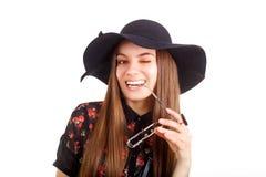Modèle de mode dans le chapeau Photo libre de droits