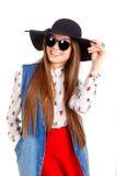 Modèle de mode dans le chapeau Image libre de droits