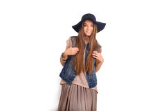 Modèle de mode dans le chapeau Photo stock