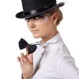 Modèle de mode dans le premier chapeau photo stock