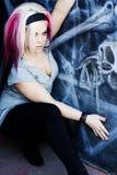 Modèle de mode gothique punk Photographie stock libre de droits