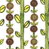 Modèle de mosaïque floral sans couture d'aquarelle Photos stock