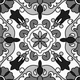 Modèle de mosaïque noir de vecteur de fleur blanche Photographie stock