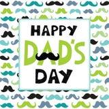 Modèle de moustaches de cadre des textes de carte de jour de pères Photographie stock libre de droits