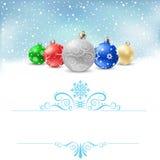 Modèle de neige de babiole de Noël illustration stock