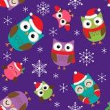 Modèle de Noël avec des hiboux illustration stock