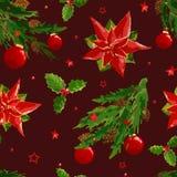 Modèle de Noël avec la baie, boule, poinsettia illustration libre de droits