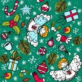 Modèle de Noël avec la baie de houx d'ange, bonbons, boules de Noël images libres de droits