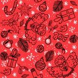 Modèle de Noël avec la baie de houx d'ange, bonbons, boules de Noël photos stock
