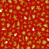 Modèle de Noël avec le vecteur décoratif d'or d'éléments Photo libre de droits