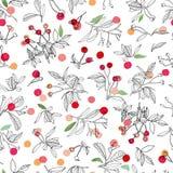 Modèle de Noël blanc avec l'usine et les bourgeons roses illustration stock