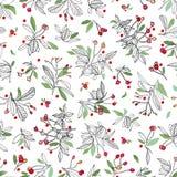 Modèle de Noël blanc avec l'usine et les feuilles roses illustration stock