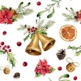 Modèle de Noël d'aquarelle avec le décor classique Ornement d'arbre de nouvelle année avec la cloche, houx, gui, poinsettia, oran Photographie stock