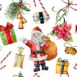 Modèle de Noël d'aquarelle avec Santa Claus et le décor traditionnel Giftbox peint à la main avec l'arc, sucrerie, cloches Photo libre de droits