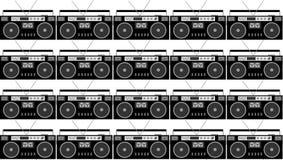 Modèle de noir et blanc et de gris, hippie, beau, rétros enregistreurs de bande audio de vintage 80 du ` s sur un fond blanc illustration stock