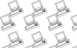 Modèle de noir et blanc, le vintage, ordinateurs les rétros, de hippie avec les moniteurs convexes et le disque souple Photos stock