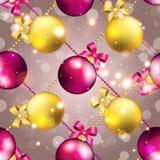 Modèle de nouvelle année avec la boule Papier peint de Noël Images libres de droits