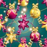 Modèle de nouvelle année avec la boule Papier peint de Noël Photographie stock