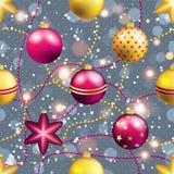Modèle de nouvelle année avec la boule Papier peint de Noël Photos libres de droits