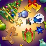 Modèle de nouvelle année avec le bonhomme de neige, arbre de Noël, bonhomme en pain d'épice Cadeau et Bell, arc Photo libre de droits