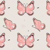 Modèle de papillon de vecteur Fond d'insecte de nature Badine l'illustration d'été Copie de rose de ressort naturel illustration stock