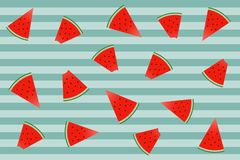 modèle de pastèques sur le fond vert avec des rayures Emballage de p illustration libre de droits