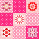 Modèle de patchwork avec des fleurs Photographie stock