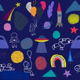 Modèle de Planet Star d'astronaute d'arc-en-ciel d'univers illustration stock