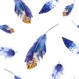 Modèle de plumes d'oiseaux d'aquarelle seamless Photos stock