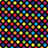 Modèle de point coloré sans couture de polka sur le noir Illustration de vecteur Image libre de droits