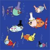 Modèle de poissons de bande dessinée Illustration Images libres de droits