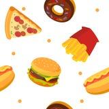 Modèle de prêt-à-manger La pizza, beignet, Français a fait frire, hot-dog, hamburger photos libres de droits
