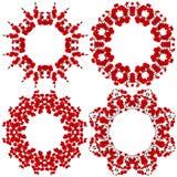 Modèle de quatre circulaires Fleurs, orchidée rouge sur le fond blanc Photos stock