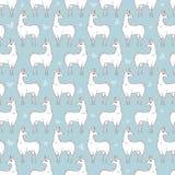 Modèle de répétition sans couture de lama sur le fond bleu Illustration de vecteur de quatre couleurs Photos stock