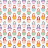 Modèle de répétition sans couture de poupée russe de Matryoshka sur le fond blanc - dirigez l'illustration Photographie stock libre de droits