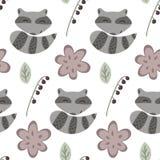 Modèle de raton laveur et de fleurs Photo stock