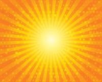 Modèle de rayon de soleil de Sun avec des places. Ciel orange. Photo libre de droits