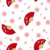 Modèle de Semaless avec la fan et Sakura se pliants Photos libres de droits