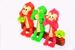 Modèle de souhaits du singe trois Image libre de droits