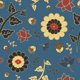 Modèle de style chinois avec des fleurs et des feuilles Images libres de droits