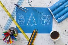 Modèle de symboles de nouvelle année Photographie stock libre de droits