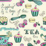 Modèle de temps de thé de couleur Images libres de droits