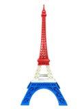 Modèle de Tour Eiffel avec la rayure bleue blanche rouge d'isolement Photographie stock libre de droits