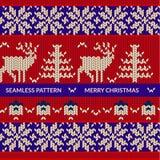 Modèle de tricotage avec des cerfs communs Photo libre de droits