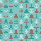 Modèle de tricotage nordique de vecteur de Noël sans couture avec coloré Photo stock