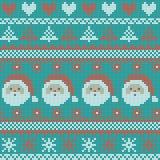Modèle de tricotage nordique de vecteur de Noël sans couture avec des sapins, des flocons de neige, des coeurs, Santa Claus et de Photo stock